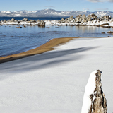 Snow covered Zypher Cove Lake Tahoe