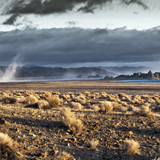pyramid lake sunup dust storm nevada great basin photograph